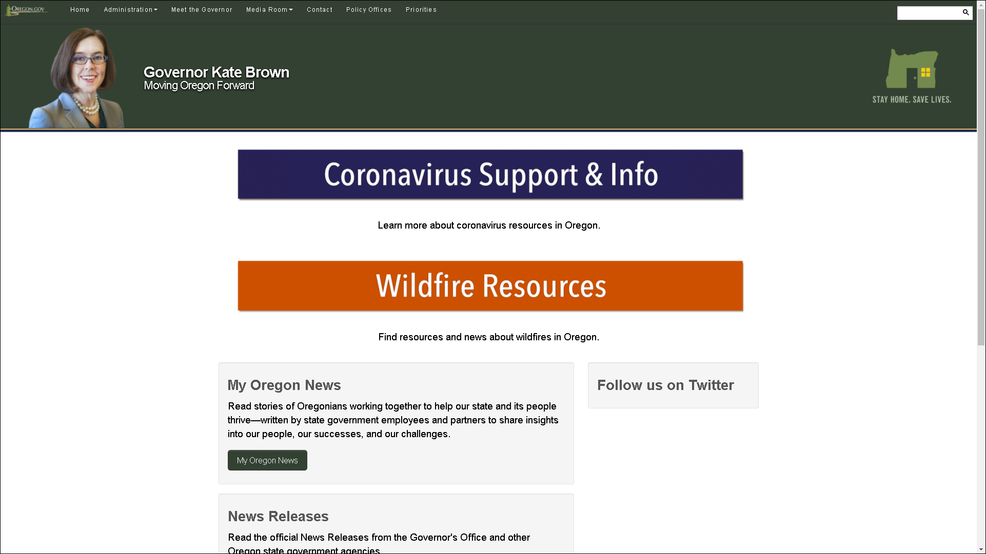 Screenshot of Oregon Governor Kate Brown's website